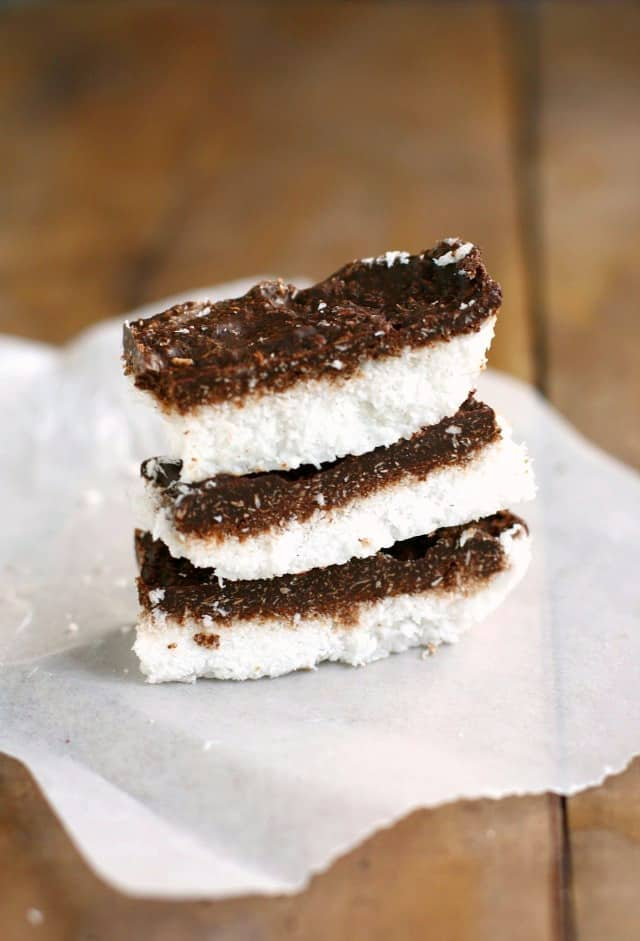 An easy candy recipe - chocolate covered coconut bars are delicious and vegan and gluten free!