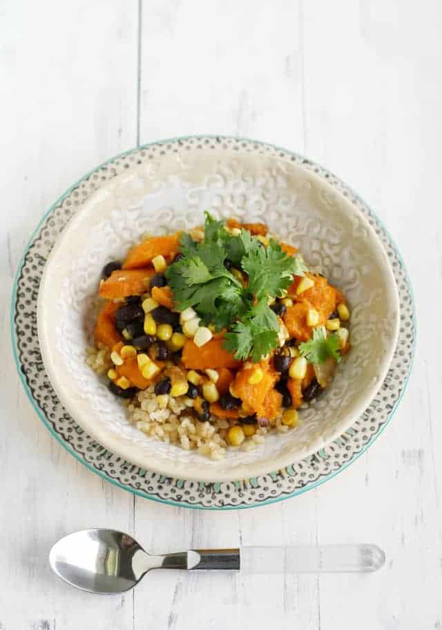 Fresh corn, sweet potato, black bean and rice bowls. #wholefoods #cleaneating #vegan