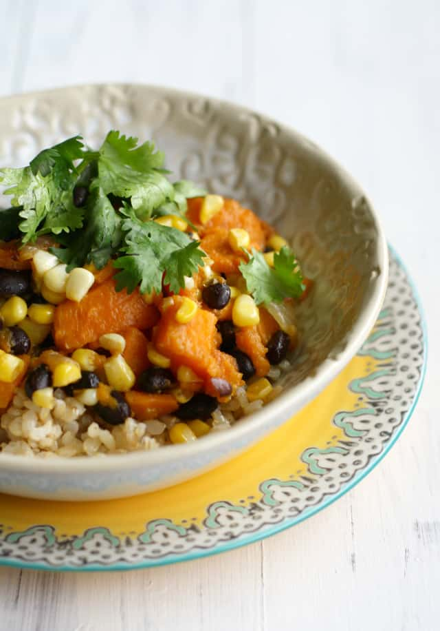 Sweet potato, black bean, and fresh corn rice bowls. #glutenfree #vegan