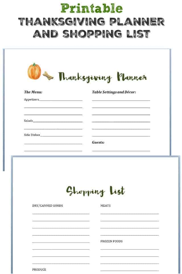 A handy Thanksgiving day menu planner and shopping list! Stay organized this Thanksgiving with these free printables.