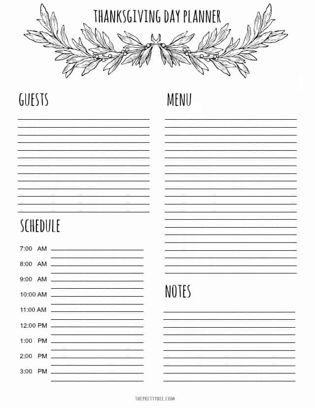 Printable Thanksgiving Planner and Shopping List - The Pretty Bee