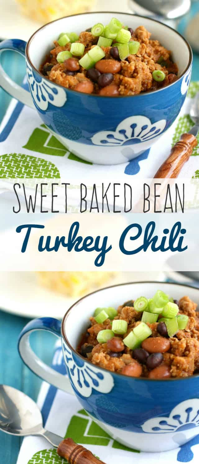 A deliciously tangy and sweet turkey chili with green onions and black and pinto beans. Healthy comfort food made easy! #chili