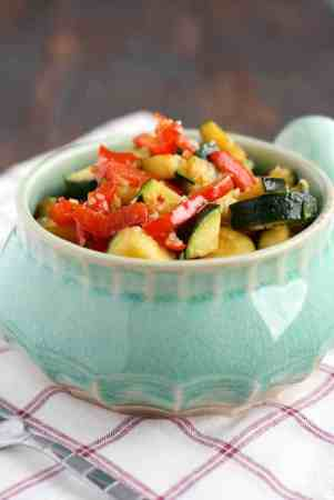 Zucchini and peppers in a simple teriyaki glaze. Simple and delicious as a side dish or over rice! #glutenfree