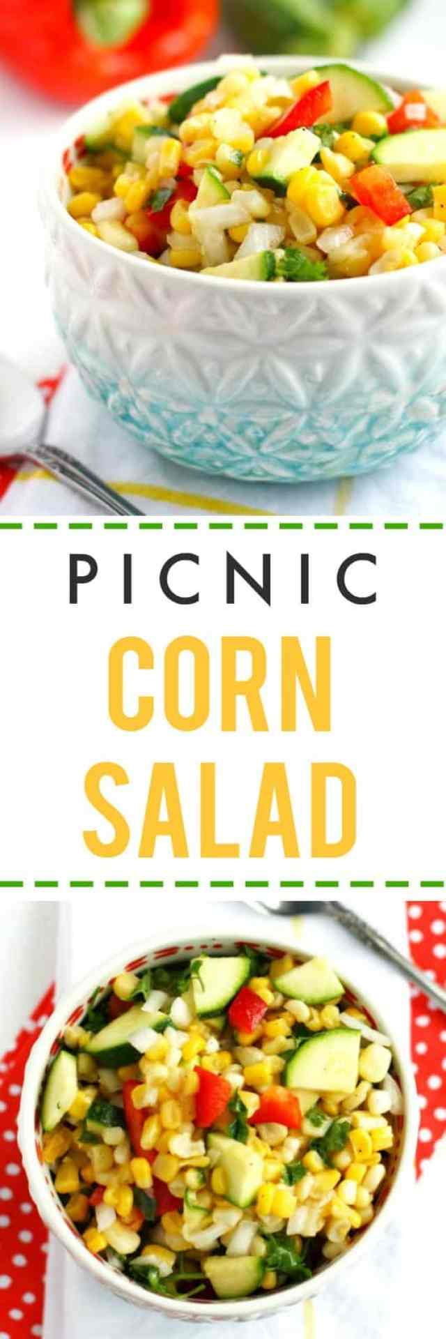 This picnic corn salad is just right for summer! Fresh, healthy, and so colorful - perfect for a party!
