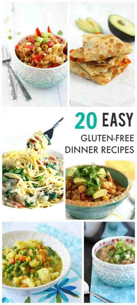 20 Easy Gluten Free Dinner Recipes from theprettybee.com #dinner #glutenfree #recipe
