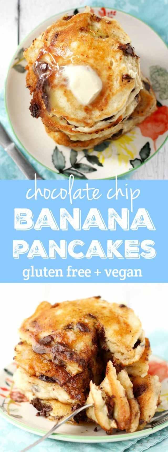 Gluten Free and Vegan Chocolate Chip Banana Pancakes. - The Pretty Bee