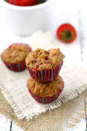 Whole grain strawberry muffins are the perfect little sweet treat for breakfast or a snack! Dairy free and vegan recipe. #ad #BackToSchool #NaturalFoods
