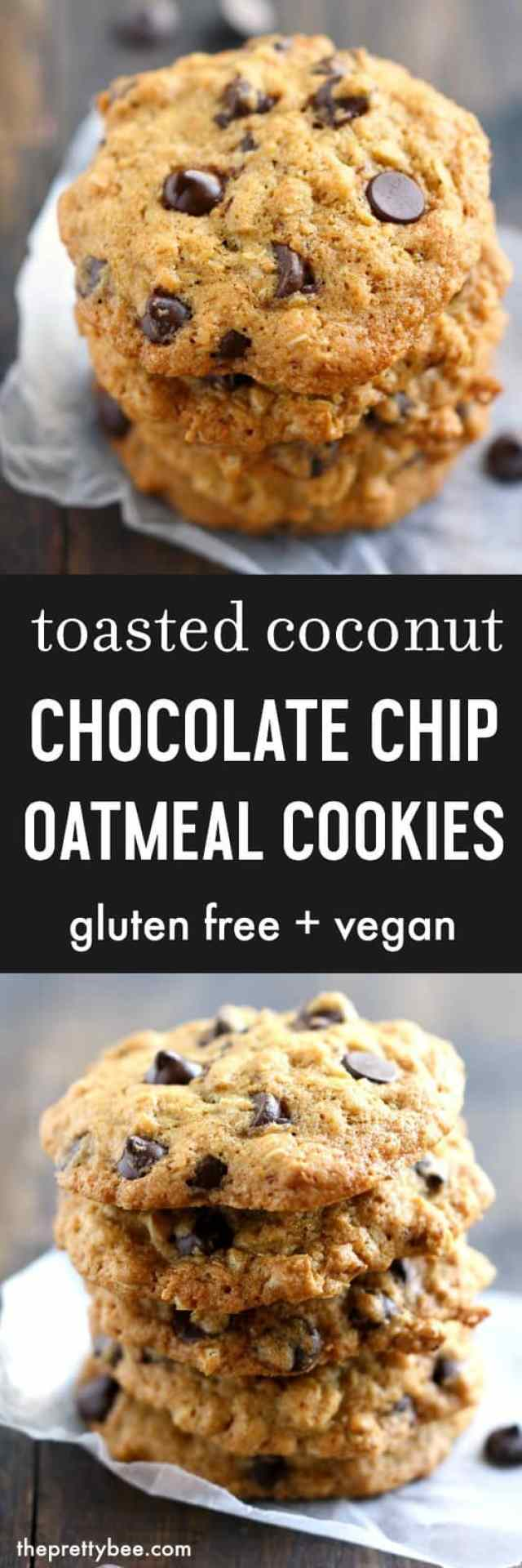Toasted Coconut Chocolate Chip Oatmeal Cookies. - The Pretty Bee