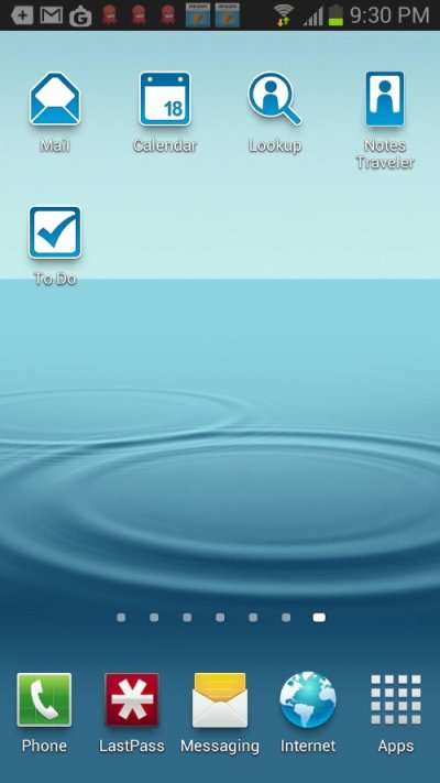 Screenshot of Samsung Galaxy S3 with IBM Notes Traveler 9 icons - get them now at the Google Play Store!