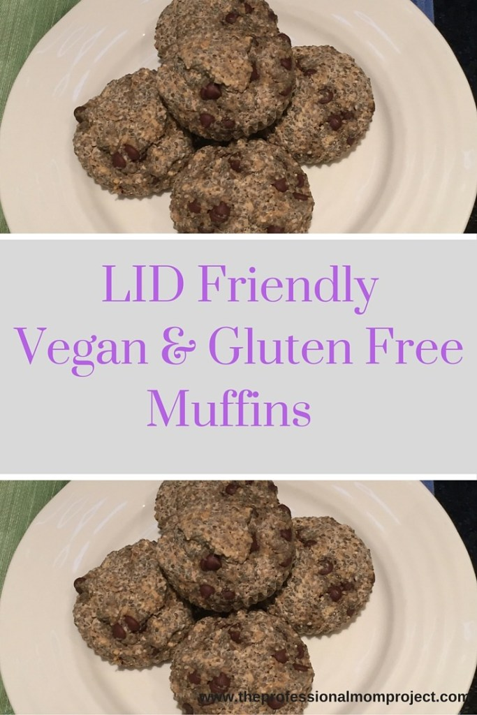 Perfect vegan and gluten free breakfast option! Healthy chocolate chip muffins that are high in fiber and low iodine diet compatible. See the full recipe at The Professional Mom Project