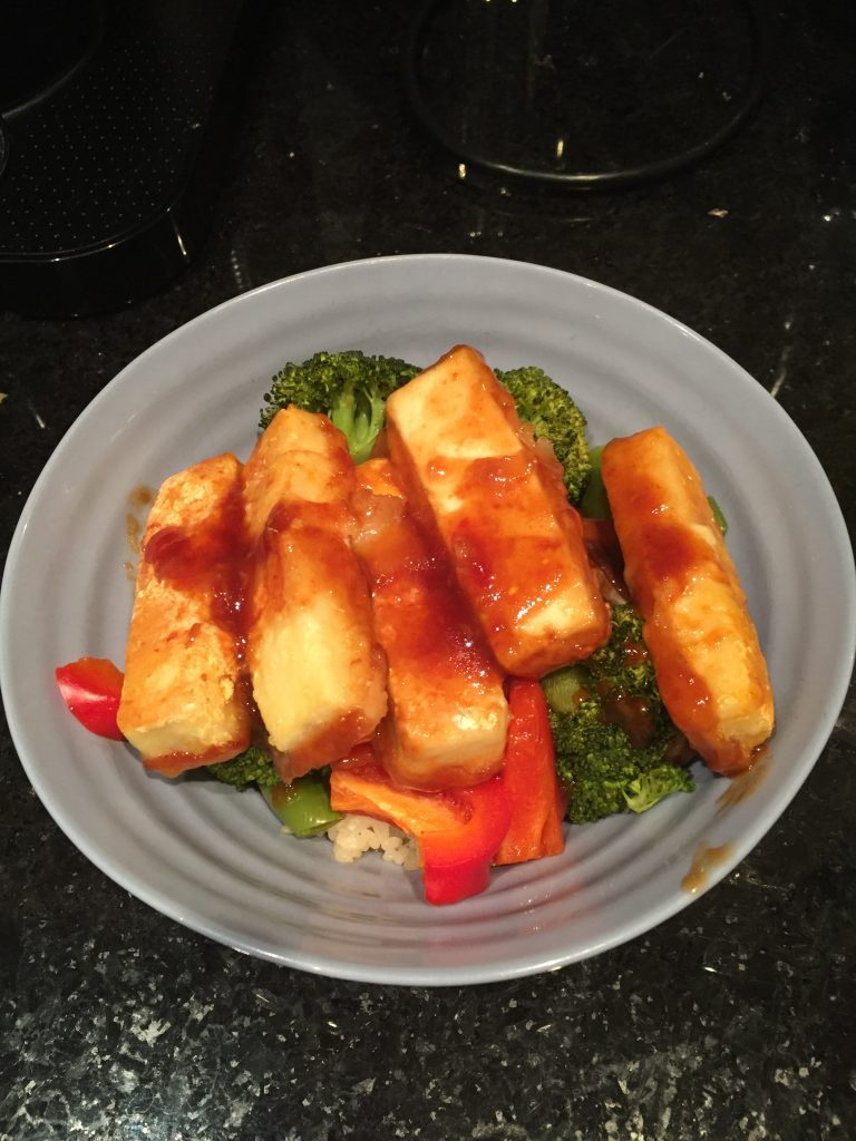 sweet and sour tofu with roasted veggies and quinoa from The Professional Mom Project