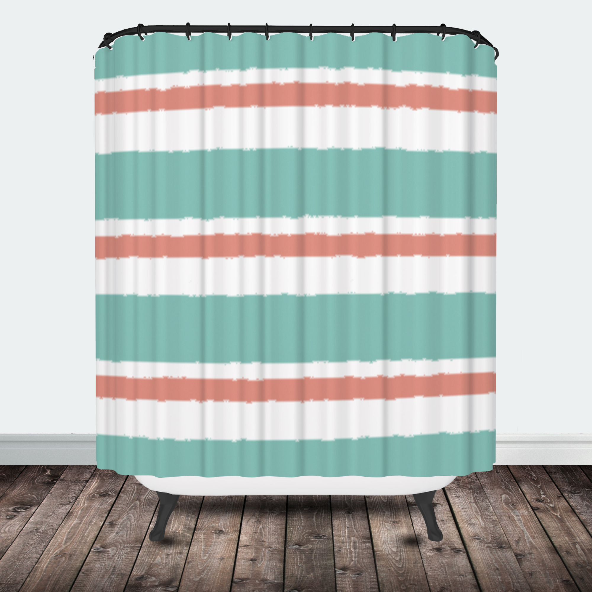 Star burst tribal shower curtain coral mint stripe shower curtain