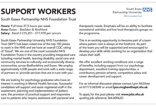 Featured job Support worker The Psychologist