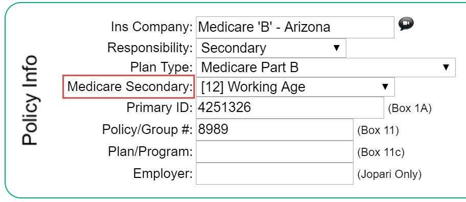 Medicare Secondary Payer (MSP) Code \u2013 Therabill