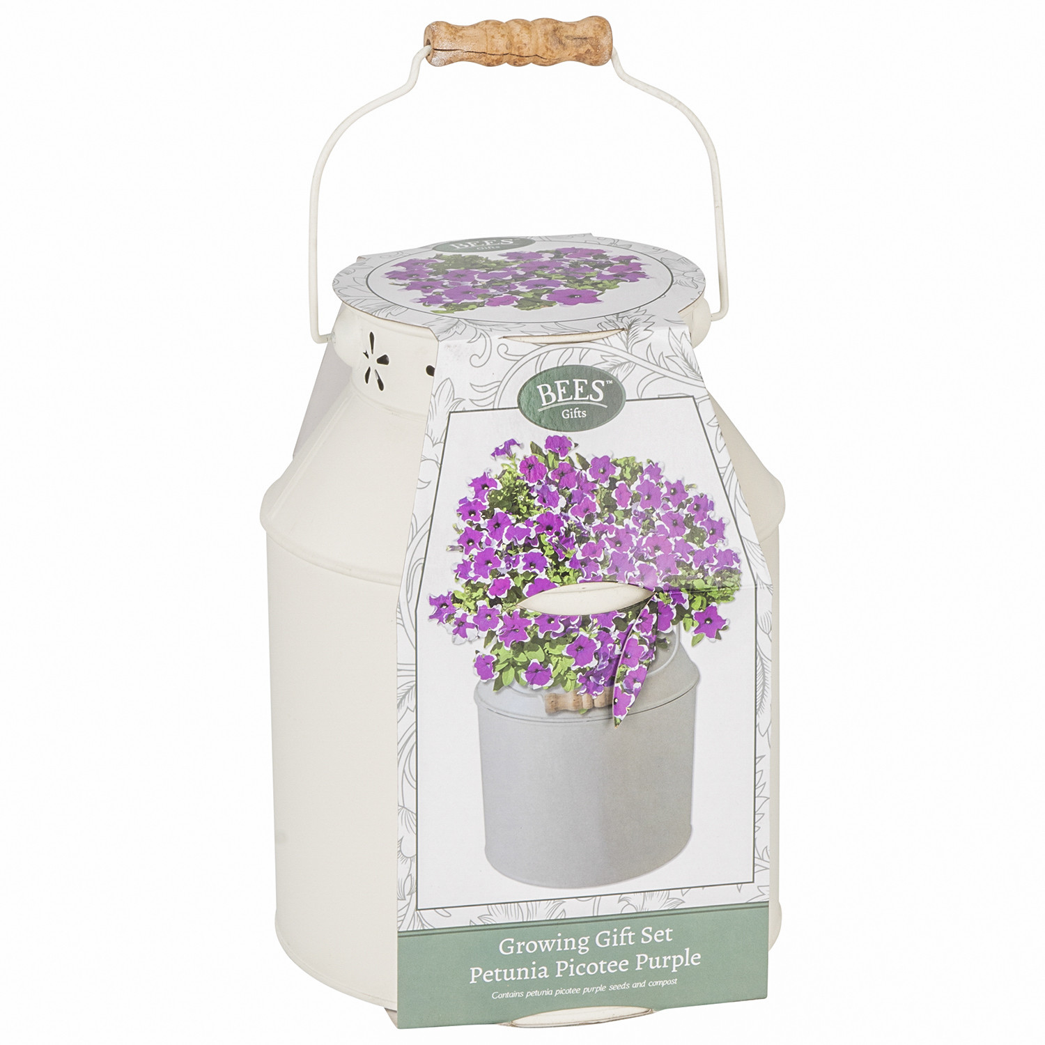 Decorative Milk Urn Bees Milk Churn Gift Petunias