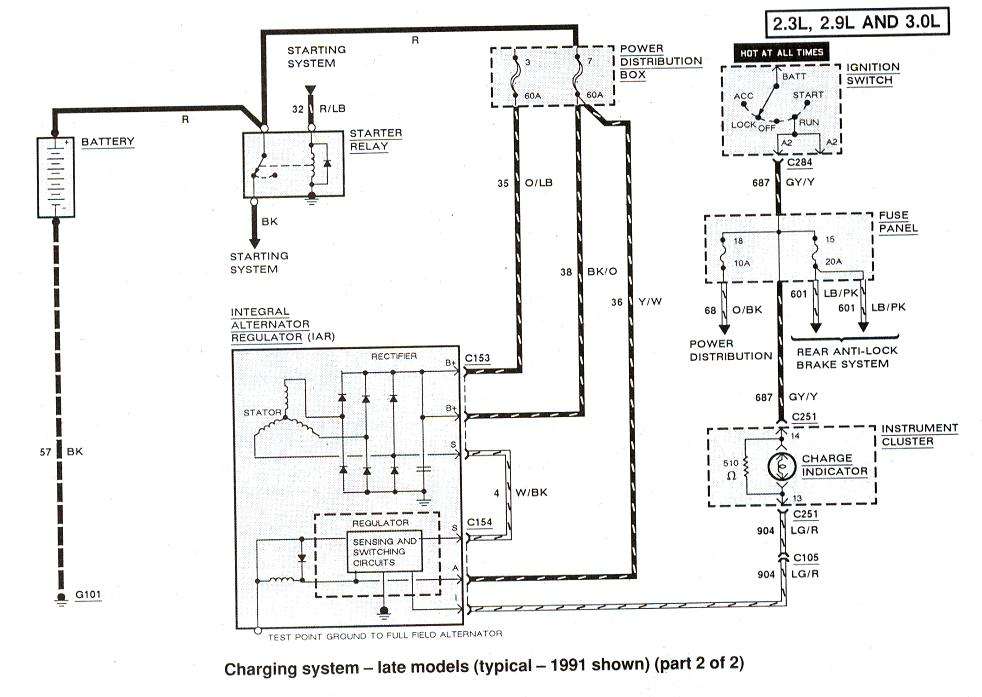 ford charging system wiring diagram