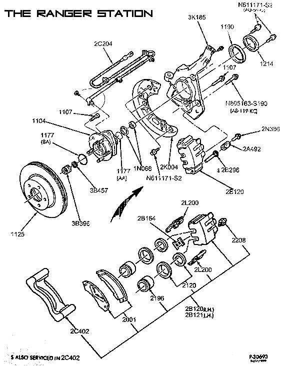 2000 ford ranger brake caliper diagram