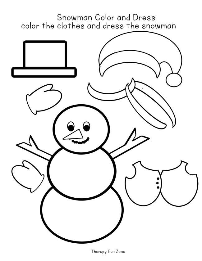 Snow Man Dressing - Therapy Fun Zone - snowman template