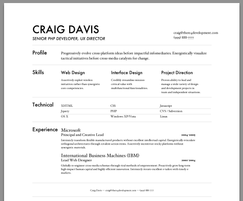 Create Acting Resume In An Effective Way Markdown Resume Builder Craig Davis