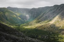 molokai travel, water falls and dramatic cloud textures on Halawa Valley and waterfalls