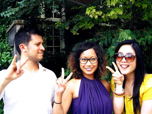 Blogger poses, Asian Peace Signs