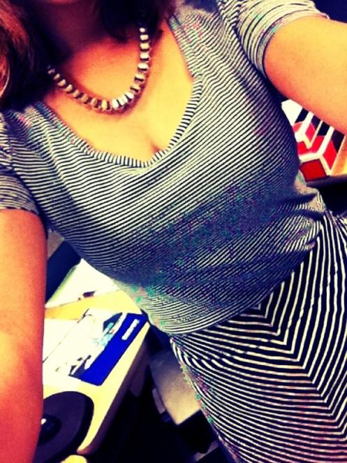 OOTD How to wear clash prints stripes on chevron