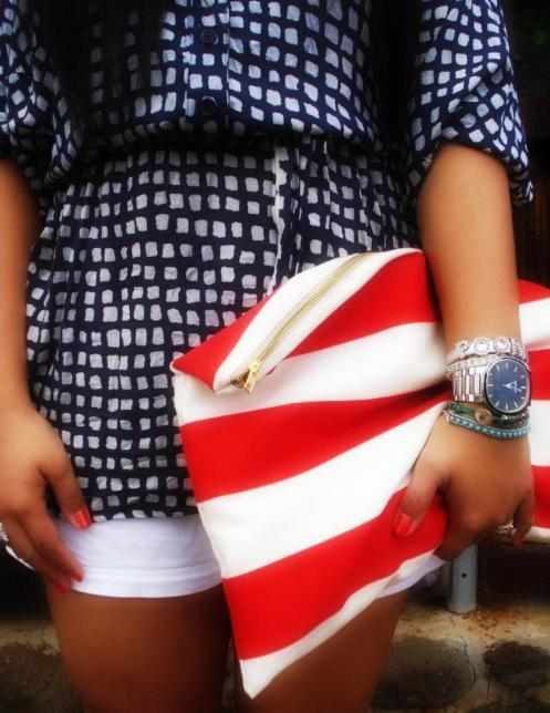 DIY Red Stripe Clutch, American Apparel Clutch, Elisharon