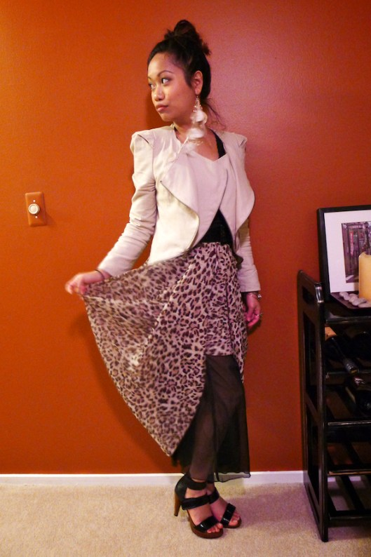 Asymmetrical leopard maxi skirt, Cropped Avant Garde Khaki Jacket, Jeffrey Campbell Patent Leather Sandals