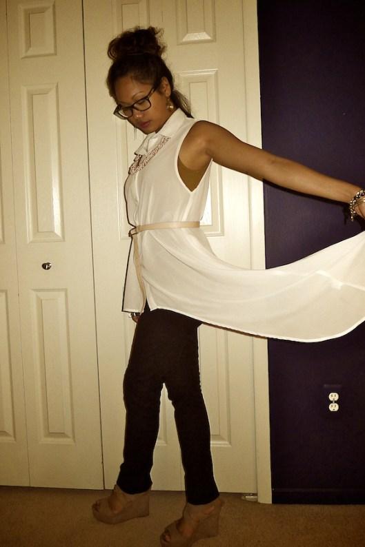 Asymmetrical Chiffon Drape Blouse, OOTD, Asian Street Style Fashion