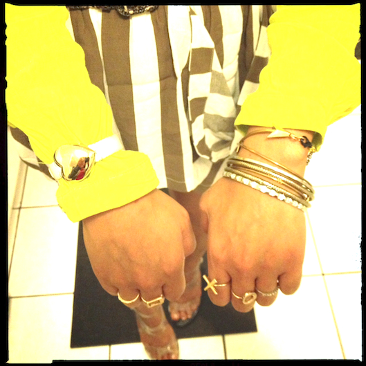 OOTD, Marc Jacobs Heart Watch, JewelMint XO Rings, Vintage Gold Bangles