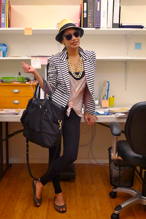 thereafterish, OOTD, how to mix prints, striped blazer, HRH Cuff Necklace, HRH Collection, HRH Necklace, Cuff Necklace, Croc flats, Douchebaguette