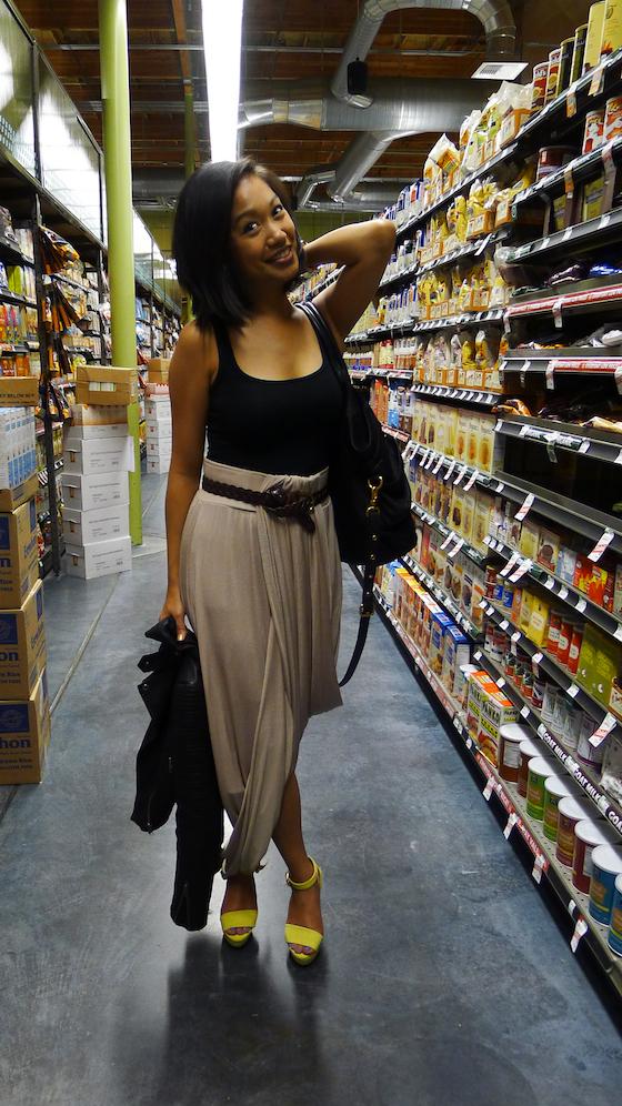 thereafterish, draped maxi skirt, again apparel, again phree skirt, moto jacket, yellow heels.