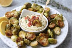 Floor Makes Roasted Brussels Sprouts Roasted Brussels Sprouts Garlic Bacon Aioli Garlic Bacon Aioli Real Food Meatsand All Kinds A Tasty Dipping Sauce