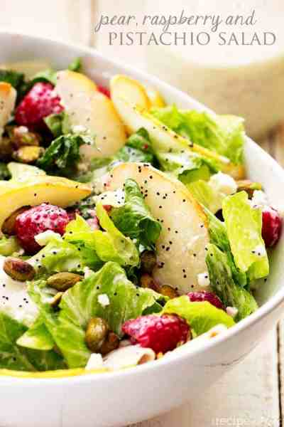 Pear, Raspberry and Pistachio Salad with a Creamy Poppyseed Dressing | The Recipe Critic