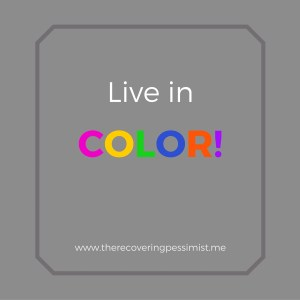 The Recovering Pessimist: Wisdom Wednesday #121 -- Live in color! | www.therecoveringpessimist.me #amwriting #recoveringpessimist #optimisticpessimist