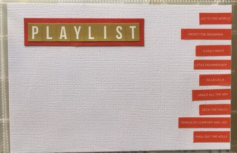 A card to record my favourite Christmas carols and songs on for the season.