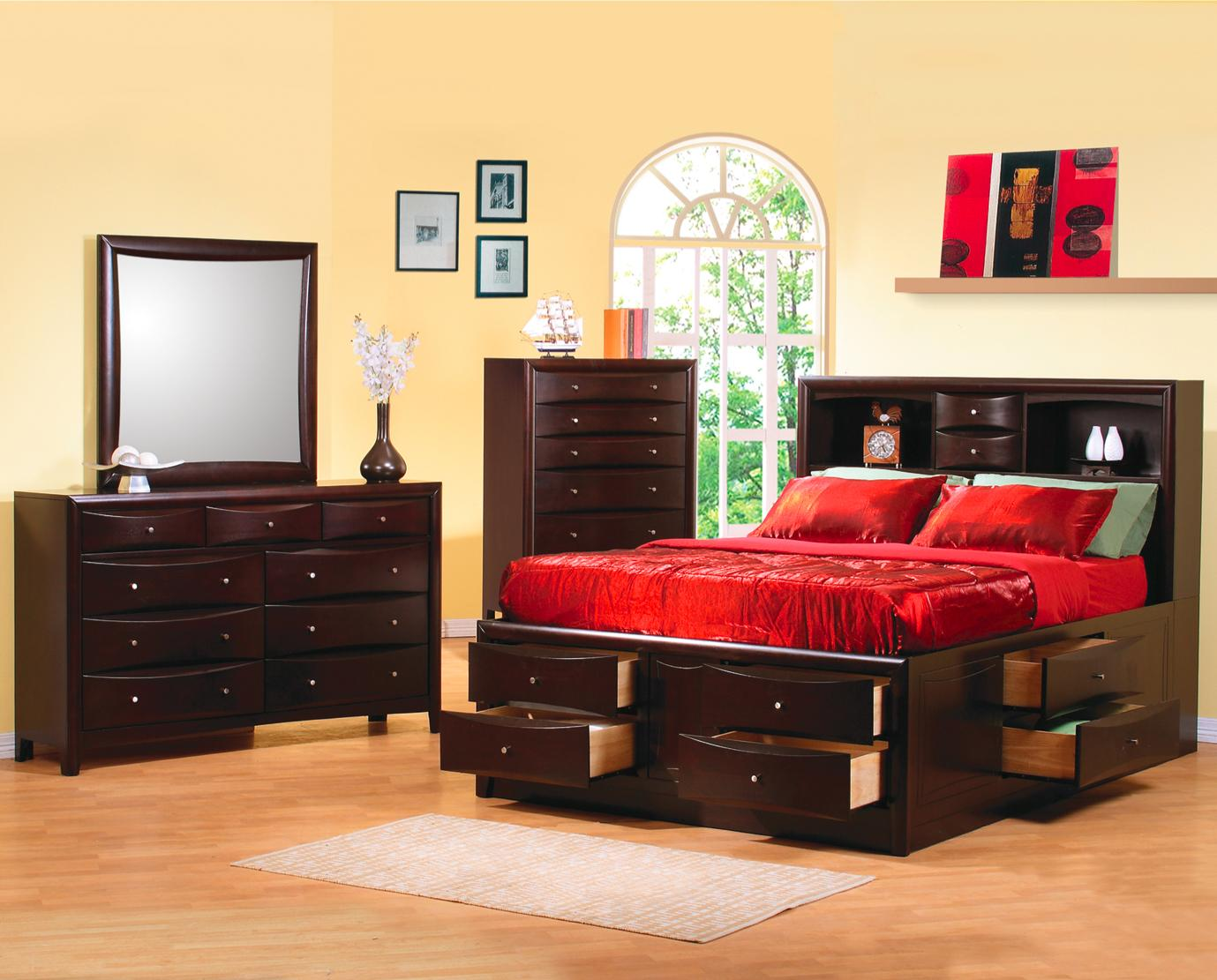 Under Bed Storage Frame Phoenix Contemporary Queen Bookcase Bed With Underbed Storage Drawers Coaster 200409