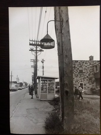 Katherine Hawkes bus stop at Val Royal. Note the light, which would have been dark due to the blackout.