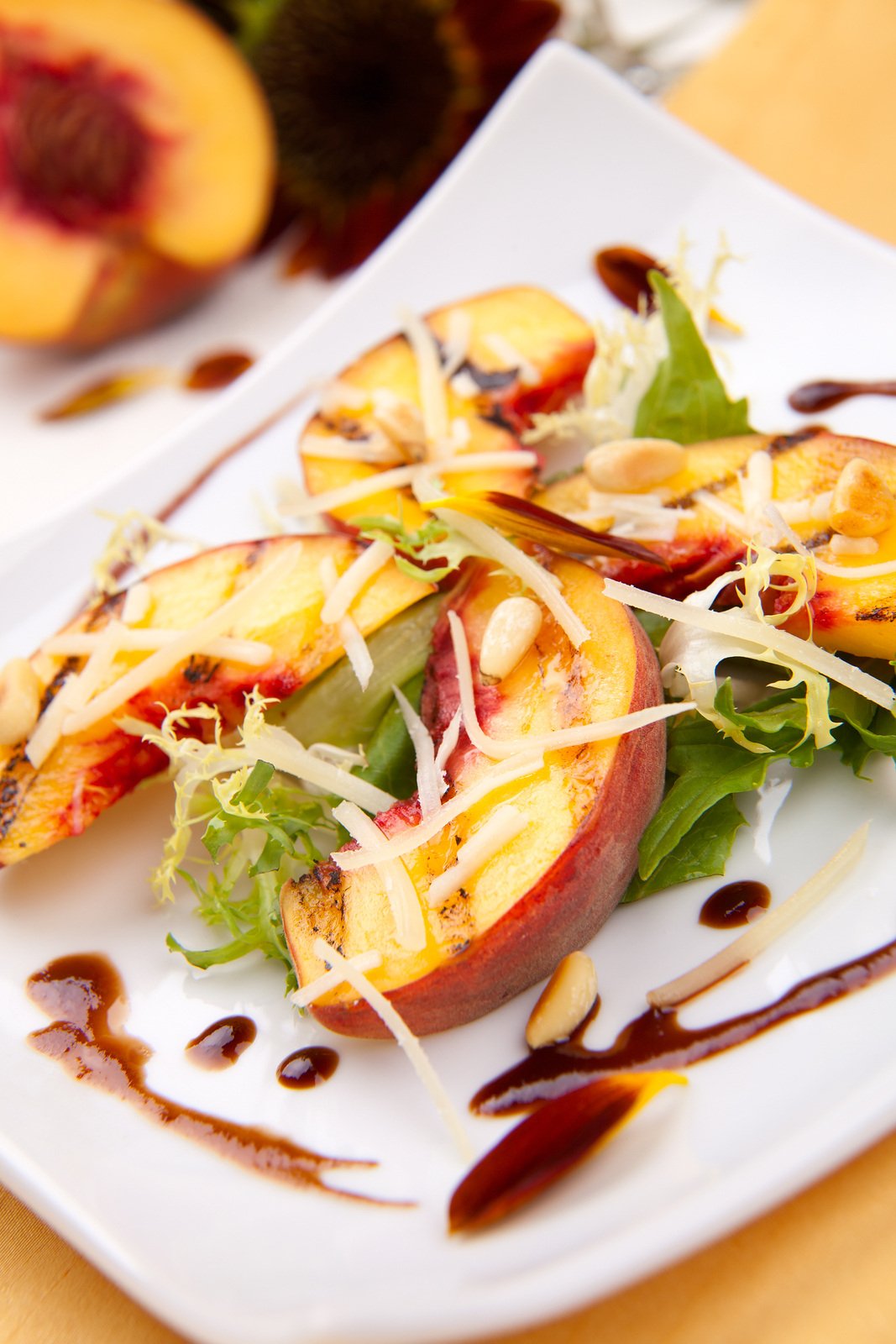 ... peaches salad with Parmesan cheese and roasted pine nuts. Balsamic
