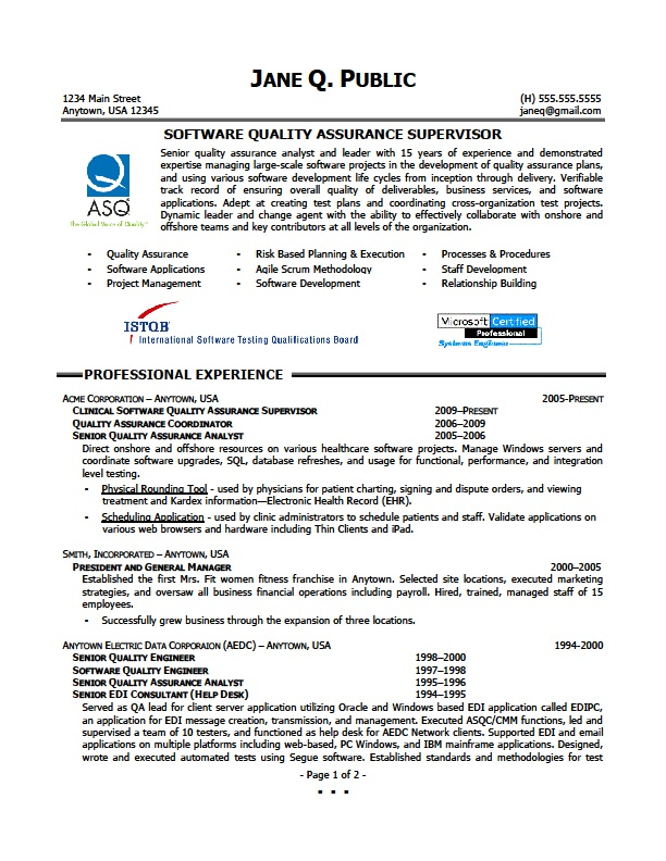 Sample Resume For Experienced Quality Engineer | Sample Letter ...