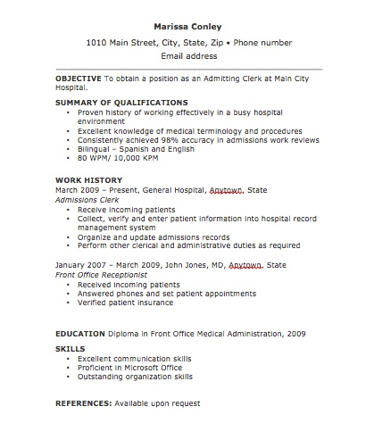 Admitting Clerk Resume Thumbnail - The Resume Template Site - admissions clerk sample resume