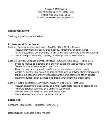 Cashier Resume - The Resume Template Site