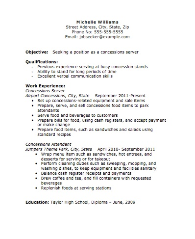 Concessions Server Resume Image - The Resume Template Site