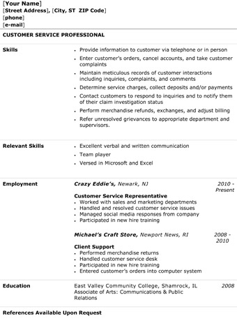 Customer Service Representative Resume - The Resume Template Site