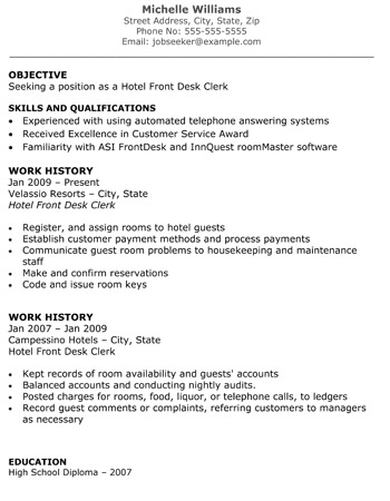 Hotel Front Desk Clerk Resume - The Resume Template Site - hotel resume
