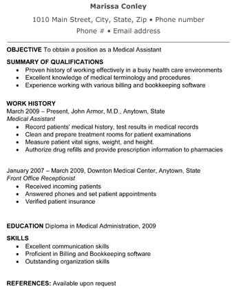sample resume of a medical assistant - Sample Medical Resume