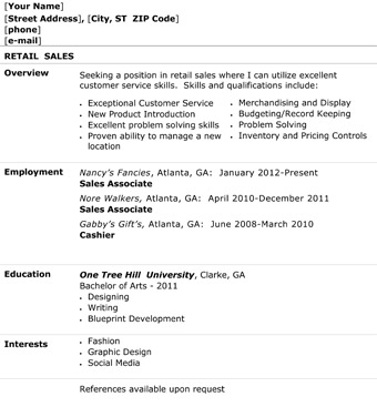 Retail Sales Resume - The Resume Template Site - retail sales resume template