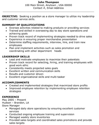 Retail Store Manager Resume - The Resume Template Site - retail resume