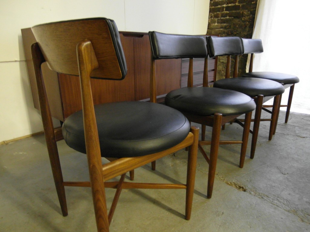 The retrobarn 187 set of four kofod larsen dining chairs for g plan 163
