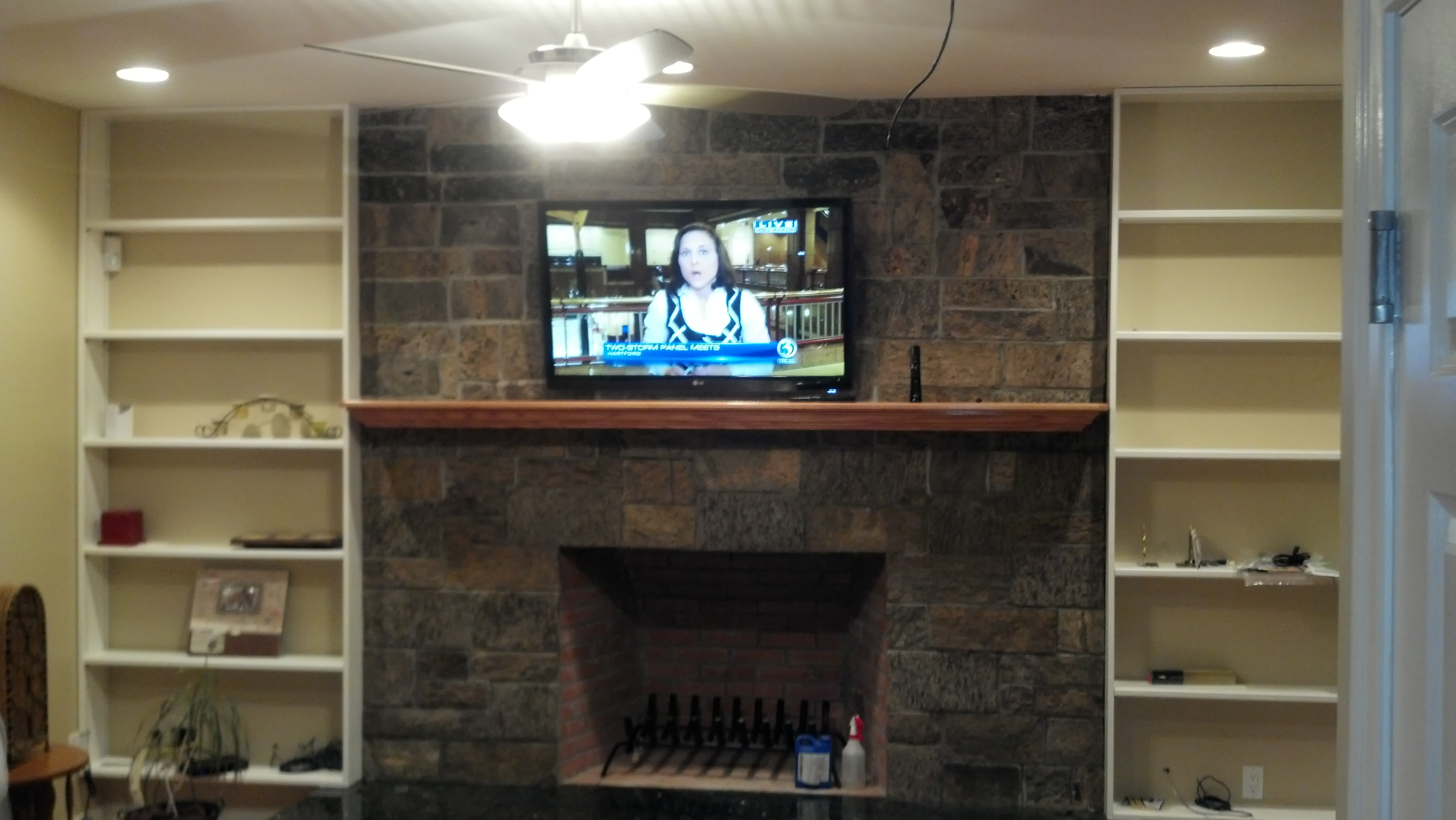 Photos Of Tv Mounted Over Fireplace Branford Ct Tv Mounted Over Brick Fireplace W New